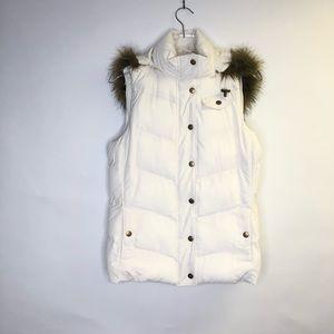 Banana Republic White Puffer Vest Faux Fur Collar